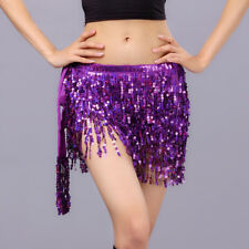 New Belly Dance Costume Sequins 4 layers Tassels Hip Scarf wrap Belt 12 colours