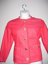Joan Rivers Womens Size 12 NWT Solid Soft Red Button Down Jacket Long Sleeves