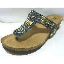White Mountain Women's Brilliant Thong Sandals Size 6 Navy Multi Beaded Leather
