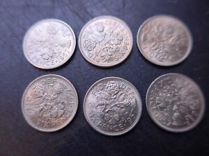 1957  Queen Elizabeth  Sixpences. Mint Uncirculated.  Bulk lot 36 Coins
