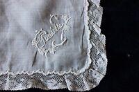 "French Antique Hand Emb Linen Lace Handkerchief ""Paulette""~Bridal Heirloom c1870"