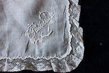 """French Antique Hand Emb Linen Lace Handkerchief """"Paulette""""~Brid al Heirloom c1870"""