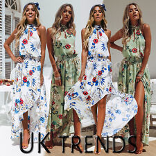 UK Womens Holiday Ladies Maxi Long Dress Sleeveless Summer Print Beach Size 6-16