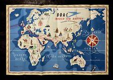 BOAC ORIGINAL AIRLINE ROUTE MAP POSTER 1949 EASTERN & WESTERN HEMISPHERE B.O.A.C