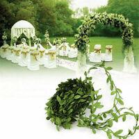 10M Green Wreath Leaves Rattan DIY Craft Flower Garland Wedding Party Home Decor