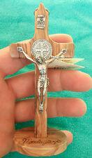 MEDJUGORJE St. Benedict wall standing OLIVE Wood Handmade Cross Crucifix 5.1 inc