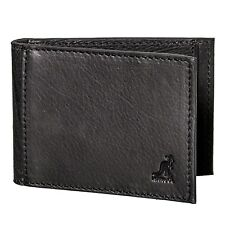 NEW KANGOL BRITAIN MEN'S LEATHER PHIL BIFOLD MONEY CLIP ID WALLET BLACK