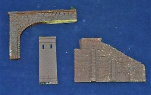 N Scale 3 Piece Bridge & Tunnel Assorted Walls Painted Brown for Railroad Layout