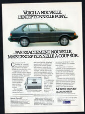 1984 HYUNDAI Pony Vintage Original Print AD - Black car photo french canadian