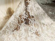 """Embroidery Wedding Lace Fabric 51"""" Wide Corded Bridal Lace Trimming 0.5 Meter"""