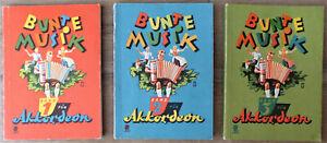 Konvolut Bunte Musik für Akkordeon Band 1, 2 und 3, Apollo-Verlag Berlin Rarität