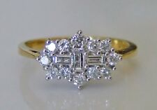 "Baguette & Brilliant Cut  0.50ct Diamond & 18ct Gold ""Boat"" Cluster Ring"