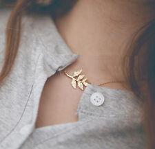 Korean Fashion Celebrity Simple Elegant Gold Leaves Charm Chain Pendant Necklace