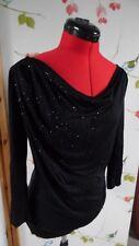 M&S Autograph black top size 8 drape neck sparkle going out evening long sleeve