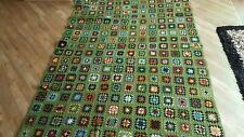 Large Vintage Granny squared Crochet Blanket  Handmade Retro Campervan Festival.