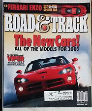 ROAD & TRACK CAR MAGAZINE 2002 OCTOBER DODGE VIPER FERRARI ENZO