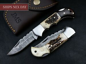 "6.5"" Handmade Damascus Steel Pocket Knife Folding Blade Stag Horn Handle Hunting"