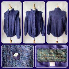 Vintage 1980s Blue/Purple Mohair Cardigan Jacket Size Large 18 20 22 approx
