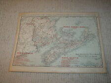 Vintage 1901 Maratime Provinces Map Rand McNally Business Atlas Single Page