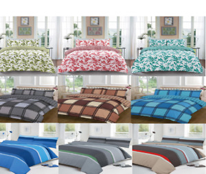 Stylish Printed Duvet Cover Set With Matching Pillow Case All Sizes