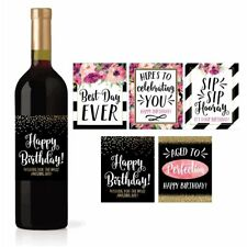 5 Birthday Wine Bottle Labels or Stickers Present, Bday Milestone Gifts For...