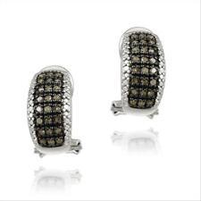 925 Silver 1/2ct Champagne Diamond Half Hoop Earrings