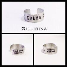 Hand Stamped Aluminium Karma Thumb Ring