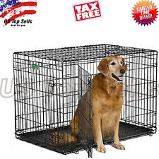 "Large Dog Crate Kennel 42"" Folding Metal Cage 2 Doors Pet ABS Pan XL"