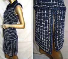 "NEW TAGS $6000 CHANEL 14S  ""NAVY BLUE"" LESAGE METALLIC TRIM TWEED DRESS-34, 36"