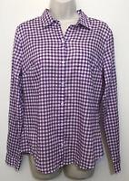 NWT LOFT Small Button Down Shirt Purple White Plaid Long Sleeve Collared Top