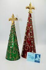 "Pier 1 Set of 2 Mirror Encrusted Christmas Trees 11 1/2"" - 14 1/2"" high"