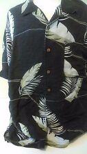 Tommy Bahama men's Black Hawaiian Aloha Magnum PI Silk blend L