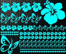 98-teiliges Aufkleber Hibiskus Blumen Schmetterlinge HAWAII Sterne WANDTATTOO