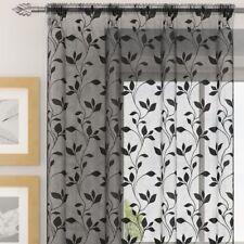 Evie Floral Leaves Voile Net Curtain Window Door Panel White Black Silver Cream