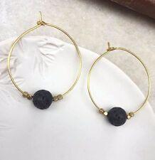 Handmade Unique Earrings Black Lava bead Gold Plated Hoop Minimal Boho Brass