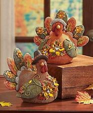 Jeweled Turkey Harvest Couple Autumn Fall Thanksgiving Table Top Home Decor