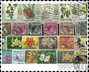 Malaysia Penang : 50 Different Stamps Mixture