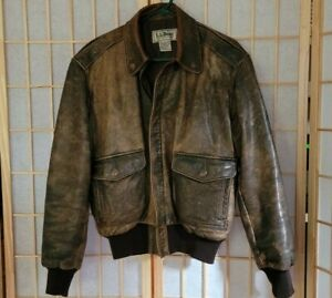 Vintage LL Bean Distressed Brown Leather Bomber Flight Jacket Made in USA Sz 38