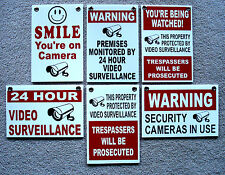 (6)  24 HOUR VIDEO SURVEILLANCE SMILE YOU'RE ON CAMERA SECURITY SIGNS 8x12   NEW
