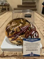 Chris Weinke Autographed/Signed Chrome Mini Helmet Beckett Florida St Seminoles