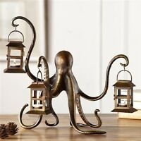 "Octopus Lantern Candle Holder Metal Sculpture Whimsical Coastal Nautical 18""W"