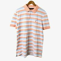 Nautica Men's Striped Casual Shirt Size L Multicolored Short Sleeve Good Condit