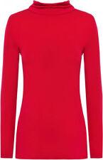 Magliette da donna a manica lunga rossa basici