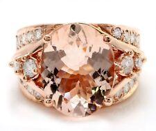 6.81 Carat Natural Peach MORGANITE and DIAMOND in 14K Solid Rose Gold Women Ring