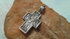 "VINTAGE 925 STERLING SILVER ORTHODOX CRUCIFIX BL.VIRGIN MARY PSALM 68 ""EXORCISM"""