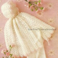 VINTAGE KNITTING PATTERN FOR REALLY PRETTY HOODED BABY CAPE / SHAWL