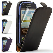 Real Leather Wallet Flip Case Cover for Samsung Galaxy S3 Mini i8190 & S3 i9300