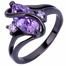 Crossed Marquise Black Ring Zircon CZ, Gifts for Her, Gift Ideas