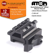 Quick release see through 45 degree weaver rail accessory mount / Riser mount