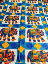 INDIAN 100% COTTON DOUBLE SIZE PINK and BLUE ROWS OF ELEPHANTS PRINT BEDSPREAD